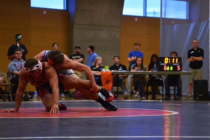 WSU+wrestler+Brayden+Proctor+competes+against+Idaho%E2%80%99s+John+Fowler+in+the+UREC%2C+Friday%2C+Sept.+20%2C+2013.