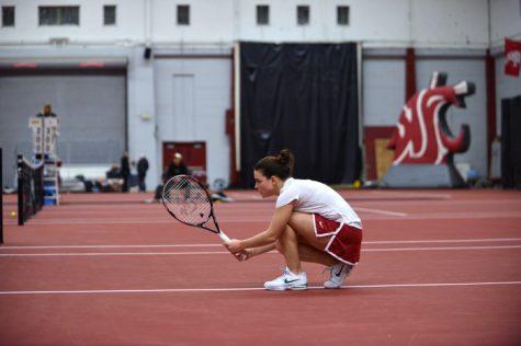 Senior Olga Musilovich prepares for a match against University of Idaho, Jan. 17.