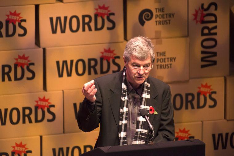 Award winning poet Robert Wrigley speaks at the Aldeburgh Poetry Festival in England, Nov. 9, 2013