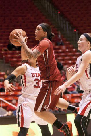 WSU guard Lia Galdeira shoots the ball during a road game against Utah, Friday, Feb. 14