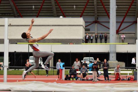 Junior jumper PJ Benedictus high jumps at the Cougar Invitational, Saturday, April 26.