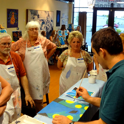 Red wine meets 'Starry Night': BellTower hosts art workshop