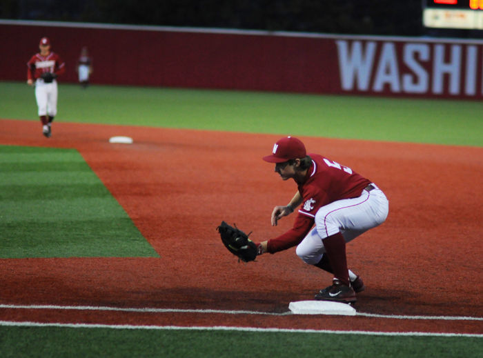 Freshman+infielder+Justin+Harrer+prepares+to+field+a+ball+during+a+game+against+Utah+Valley+at+Bailey-Brayton+Field+on+March+5.
