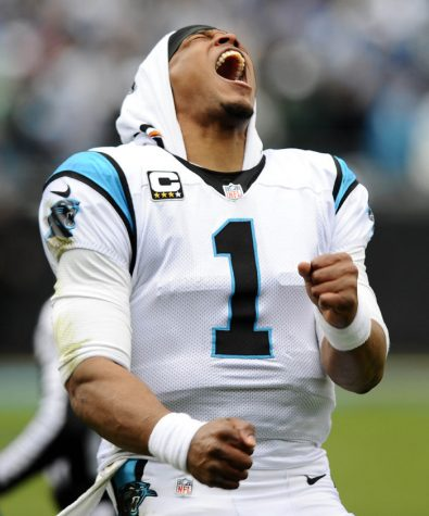 Carolina Panthers quarterback Cam Newton celebrates.