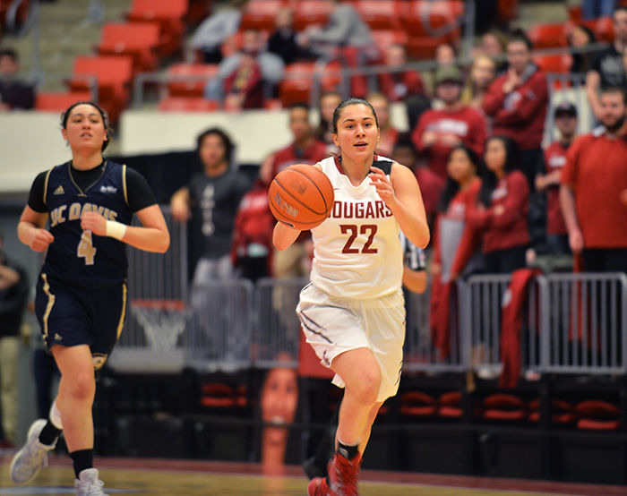 Junior guard Pinelopi Pavlopoulou dribbles down the court during the game against UC Davis on Thursday.