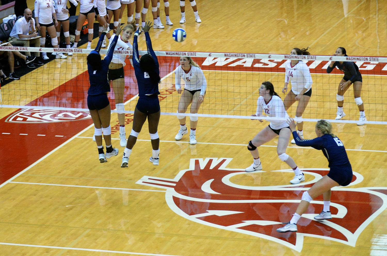 WSU Volleyball plays in a game against Maryland Eastern Shore on Sept. 9, 2016.