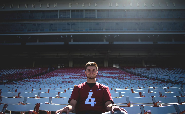 Redshirt senior quarterback Luke Falk sits in Martin Stadium before the season opener against Montana State on Saturday.