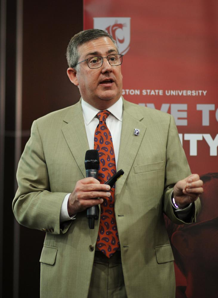 WSU President Kirk Schulz speaks at the