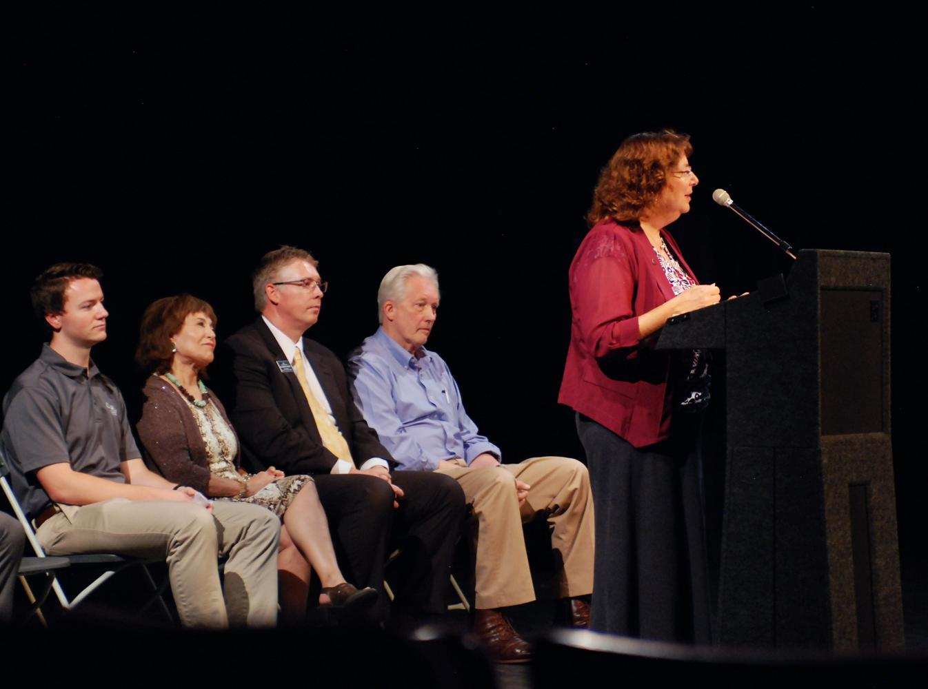 Erica Austin, Vice Porovost for Academic Affairs, relays a speech with the audience regarding a new campus location for Spokane Falls Community College at the WSU Pullman campus on Thursday September 7th in the Wadleigh Theatre.