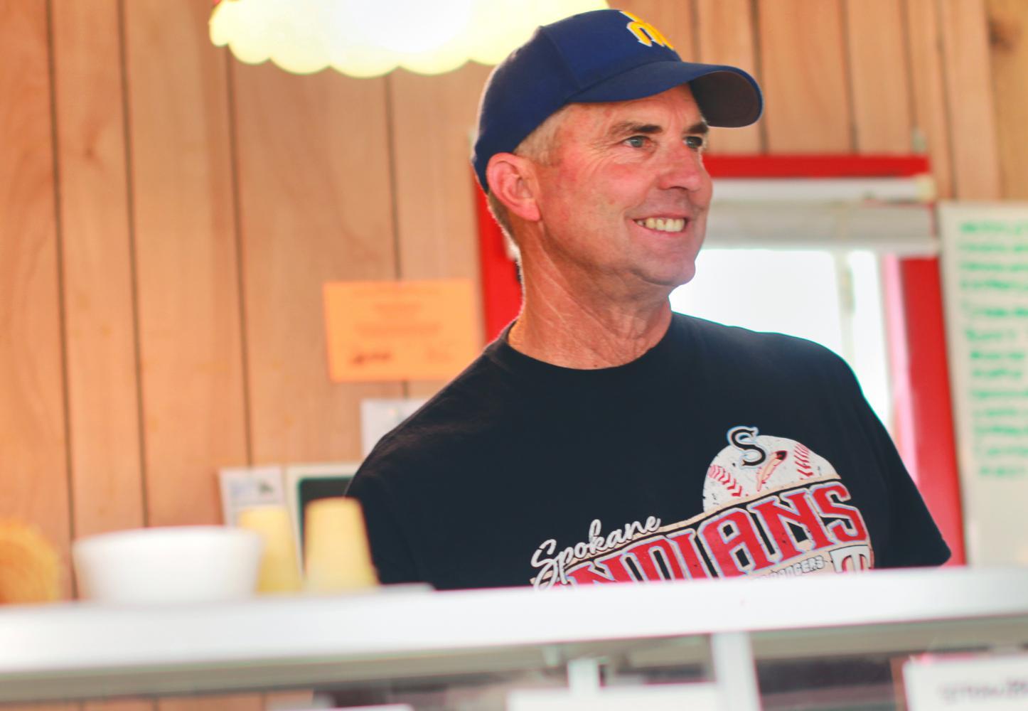 Bill Widman serves ice cream at the Palouse Empire Fair on Thursday.