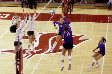 Volleyball falls short against rival Huskies