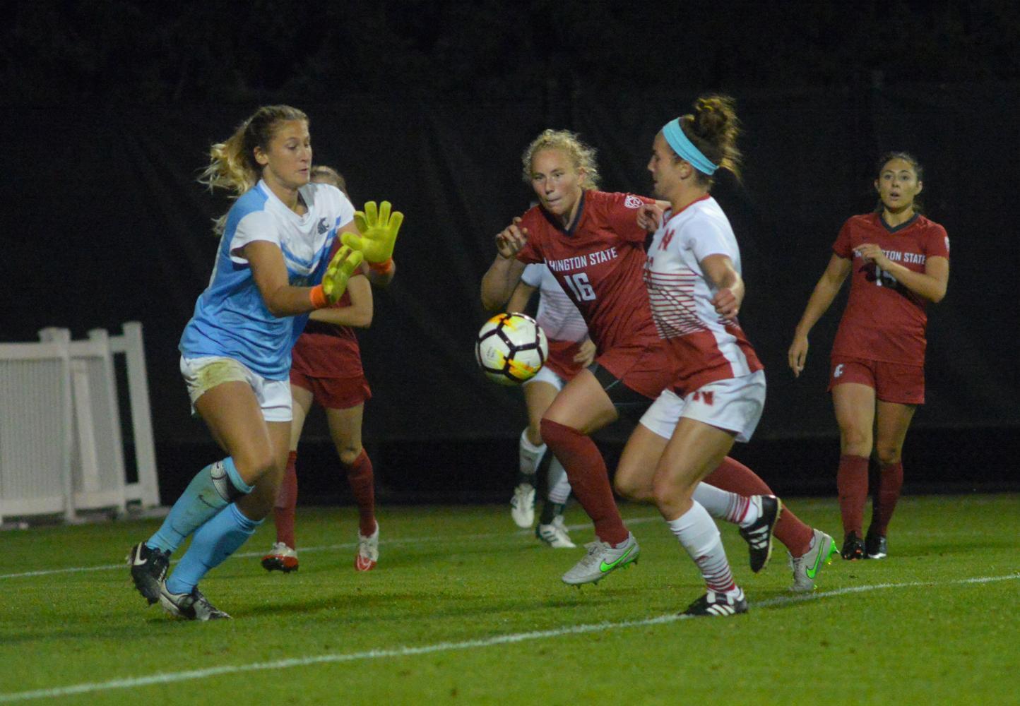 Then-redshirt junior goalkeeper Ella Dederick makes a save during a game against No. 14 Nebraska on Sept. 1, 2017.