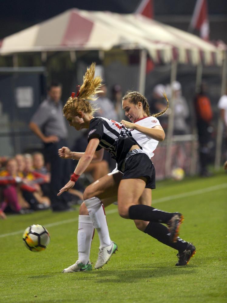 Freshman defender Hanna Goff battles for the ball against CSUN on September 21.  WSU won 3 to 0.