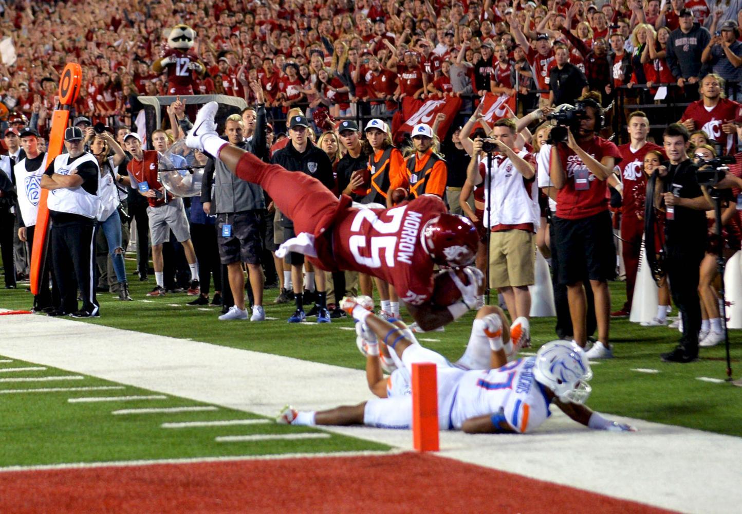 Senior running back Jamal Morrow  scores the winning touchdown against Boise State University on Saturday at Martin Stadium.