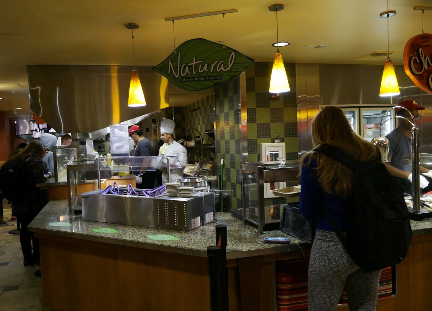 The dining halls label all food with the dietary differences to make choosing meals easy.