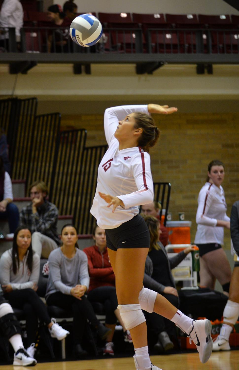 Sophomore setter Ashley Brown serves to OSU during an Oct. 15 match.