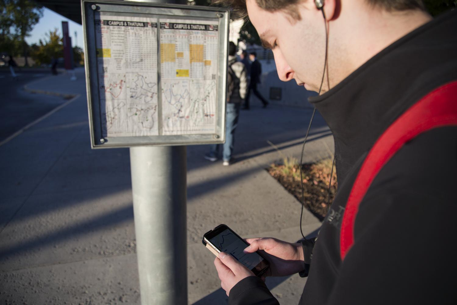 """At Pullman Transit bus stops, riders can check their bus' arrival times on the posted maps, through the Pullman Transit """"Where's My Bus?"""" web application, the WSU mobile app and Google Maps."""