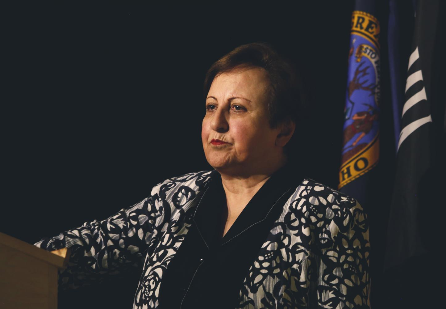 Iranian lawyer, human rights activist, and former judge Shirin Ebadi speaks on her vision to prevent war and promote equal rights in our world during her symposium at the University of Idaho Bruce M. Pitman Center.