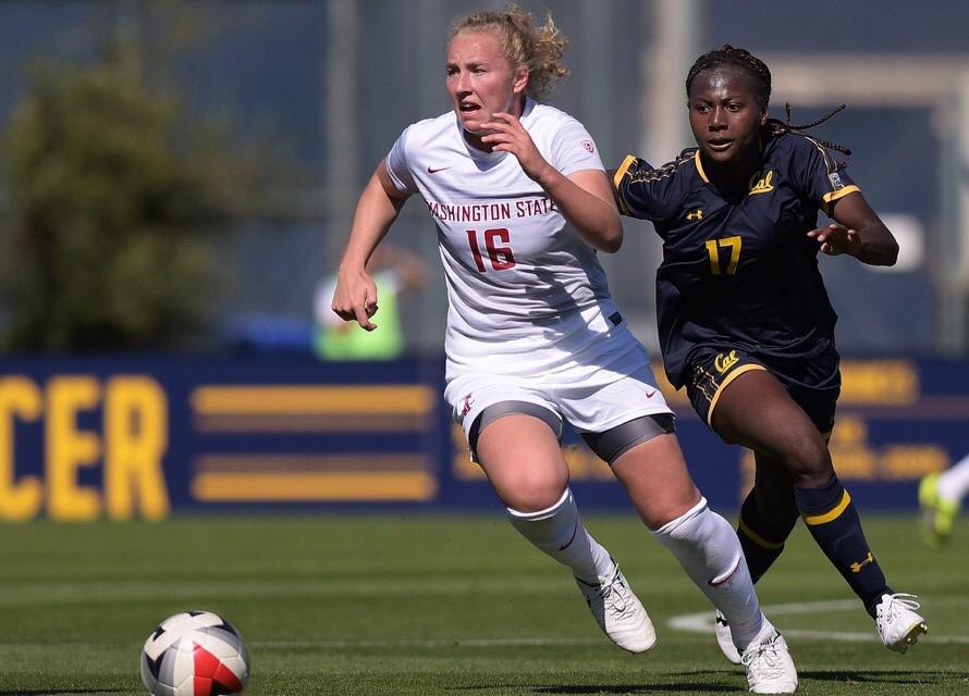 Junior defender Grace Hancock sprints away as California sophomore forward Abi Kim eyes the ball.