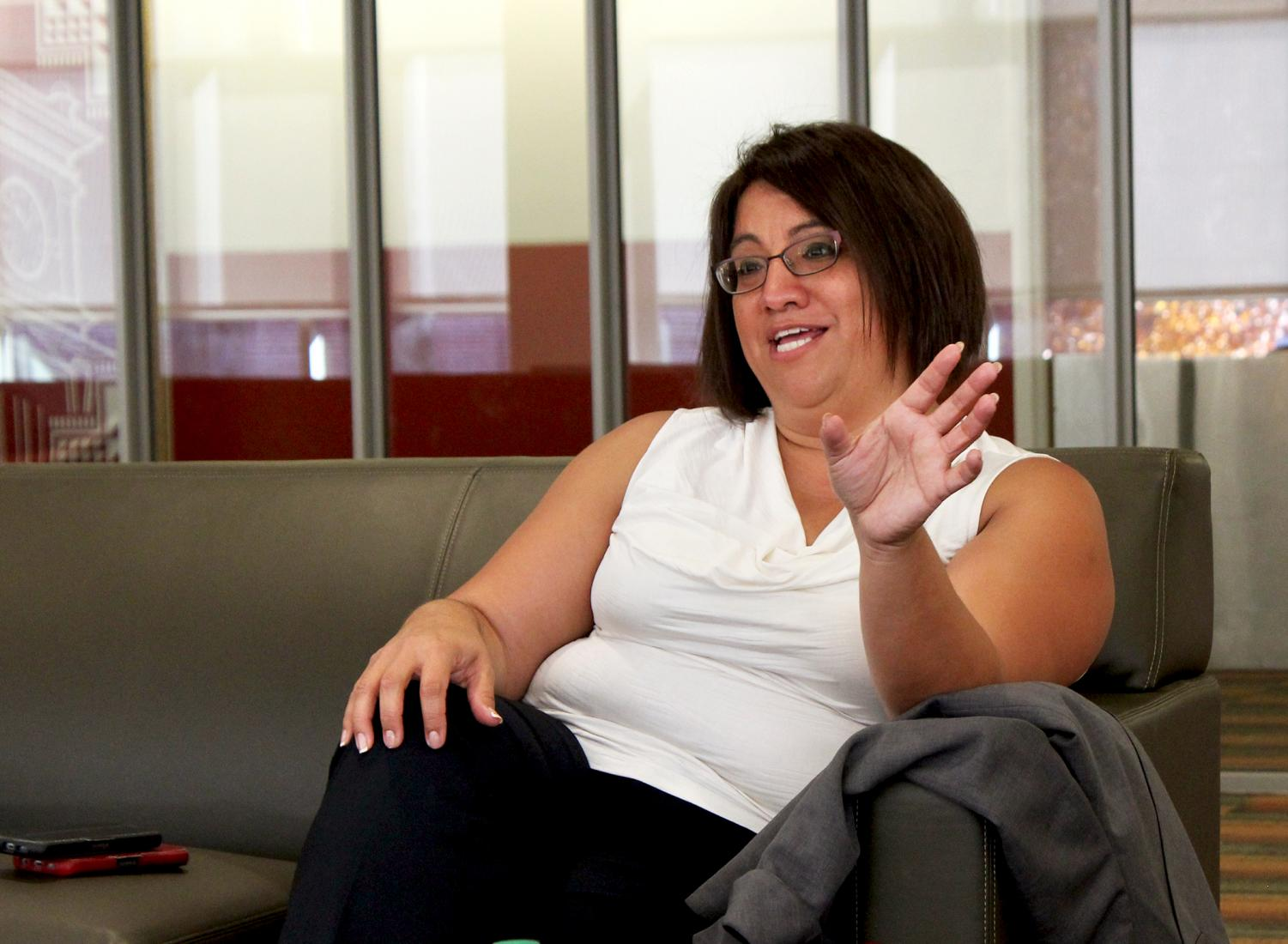 Vice President for Student Affairs Mary Jo Gonzales discusses the impact of recent budget cuts Oct. 26. Last week, Student Affairs found permanent funding for two retention counselors.