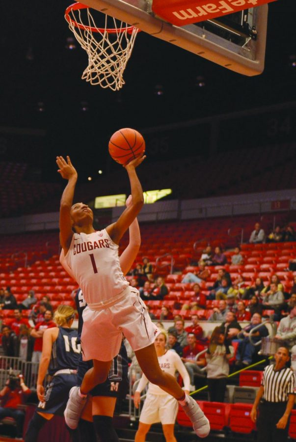 Senior+guard+Caila+Hailey+jumps+for+a+layup+against+The+Master%27s+University+in+Beasley+Coliseum+on+Nov.+1.