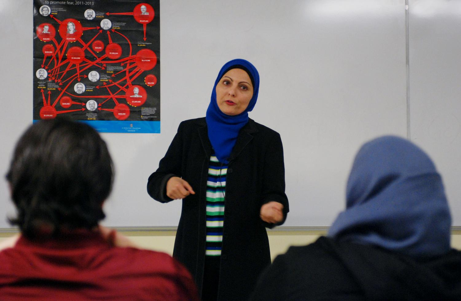 Aneelah Afzali speaks about Islamophobia and media portrayal of Muslims on Friday in Todd Hall.