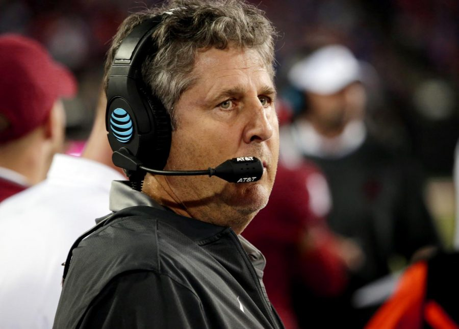 Head coach Mike Leach watches as his defense stops Boise State University in the redzone Sept. 9 at Martin Stadium. WSU won the game 47-44.