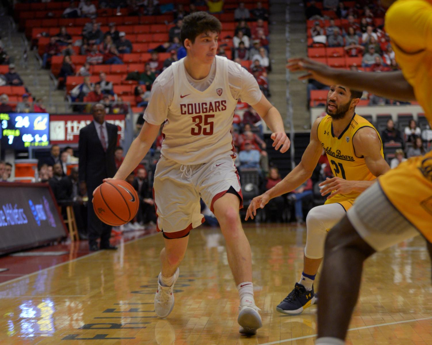 Carter Skaggs plays in a game against the California Golden Bears Jan. 13 at the Beasley Coliseum.