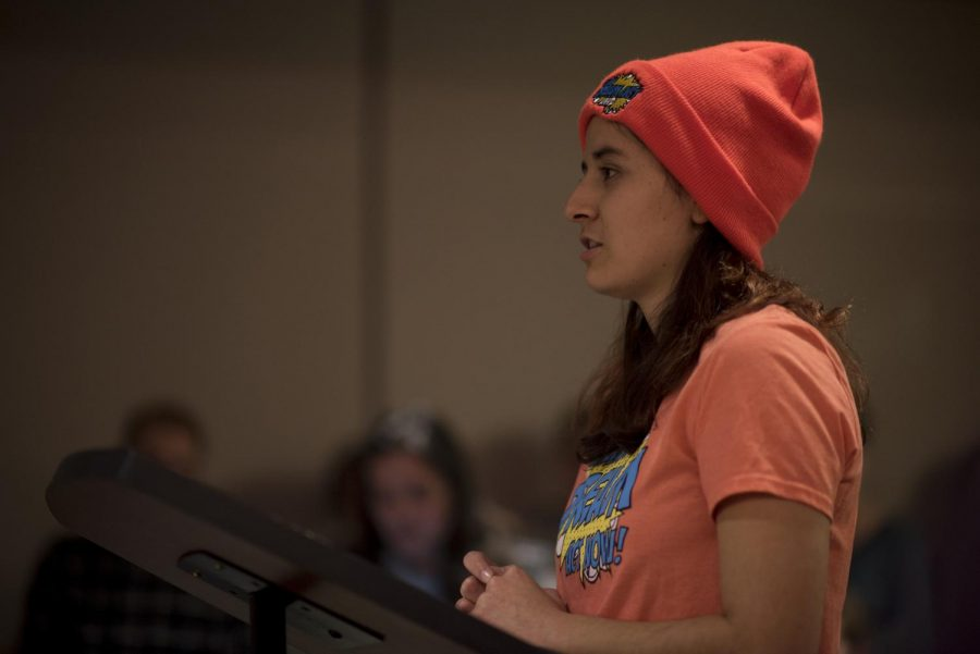 Crimson Group member Carolina Silva addressed the Senate about her hopes for the DREAM Act.