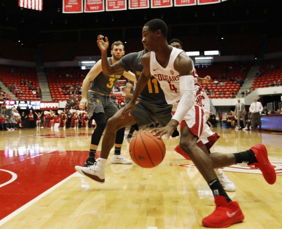 WSU junior guard Viont'e Daniels drives the ball down the court Feb. 4 at Beasley Coliseum.