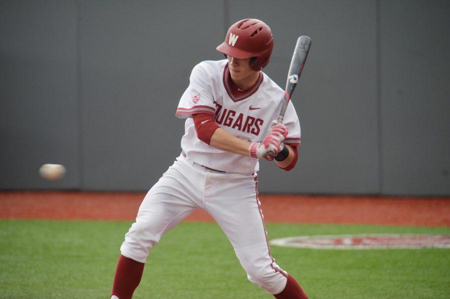 Then-freshman infielder Dillon Plew goes to bat against Seattle on April 19 at Bailey-Brayton Field.