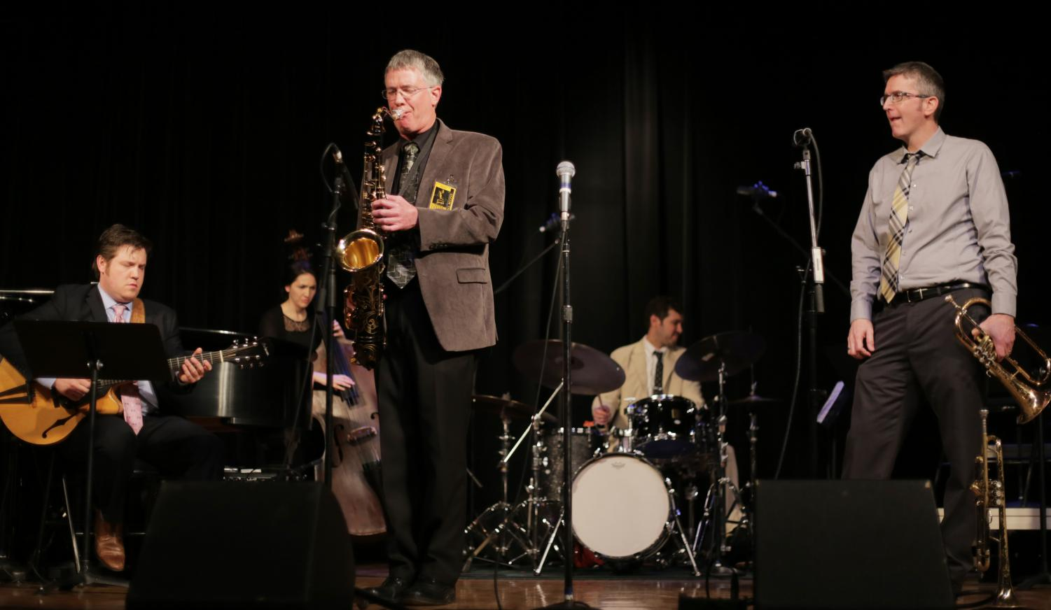 From left, Graham Dechter, Dave Hagelganz and Kevin Kanner, the All-Star Quartet, play at the 2016 Lionel Hampton Jazz Festival.