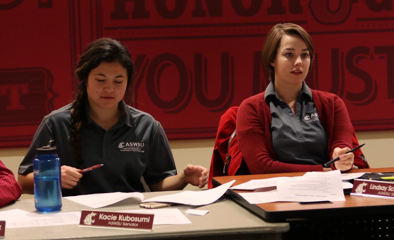 Kacie Kubosumi, left, and Lindsay Schilperoort at an ASWSU senate meeting Nov. 29 at the CUB.