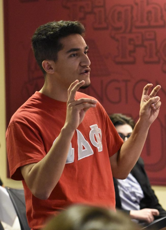 Ricky Luna, president of Omega Delta Phi, advocates to rename the library plaza to