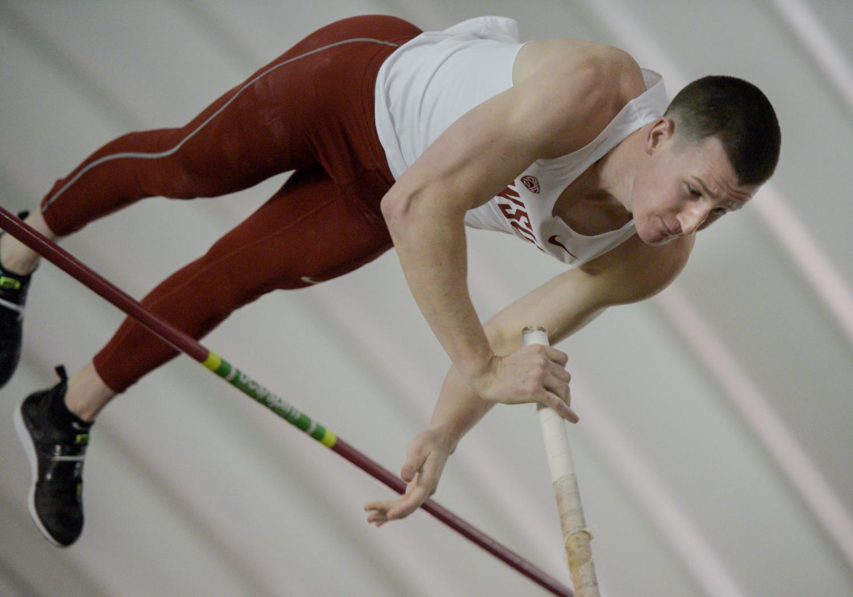 WSU redshirt junior pole vaulter Tucker Mjelde participates in the Cougar Indoor on Feb. 3.