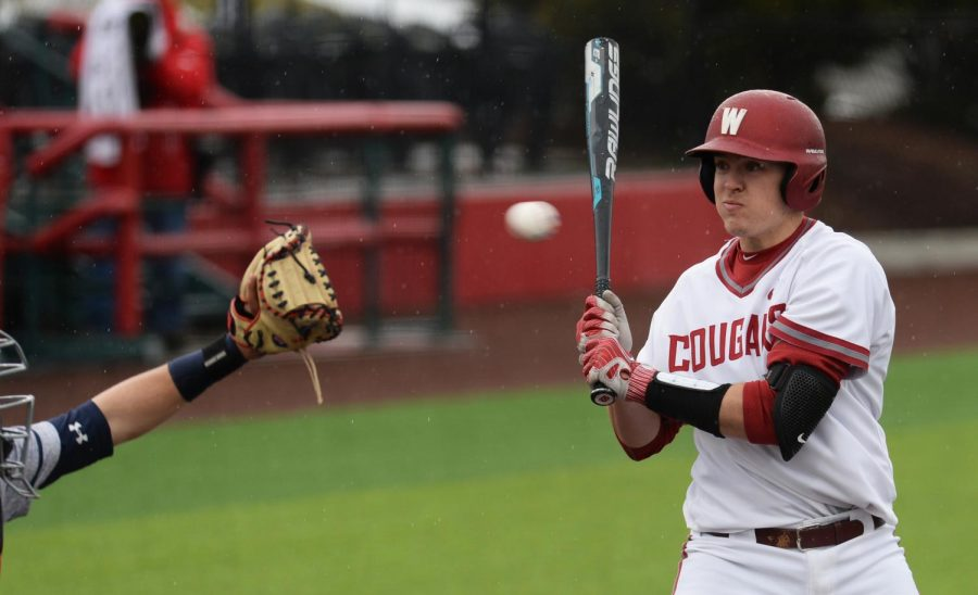 Junior+right-handed+pitcher+Nick+Strange+avoids+being+hit+by+a+pitch+against+Saint+Mary%E2%80%99s+on+March+8+at+Bailey%E2%80%93Brayton+Field.