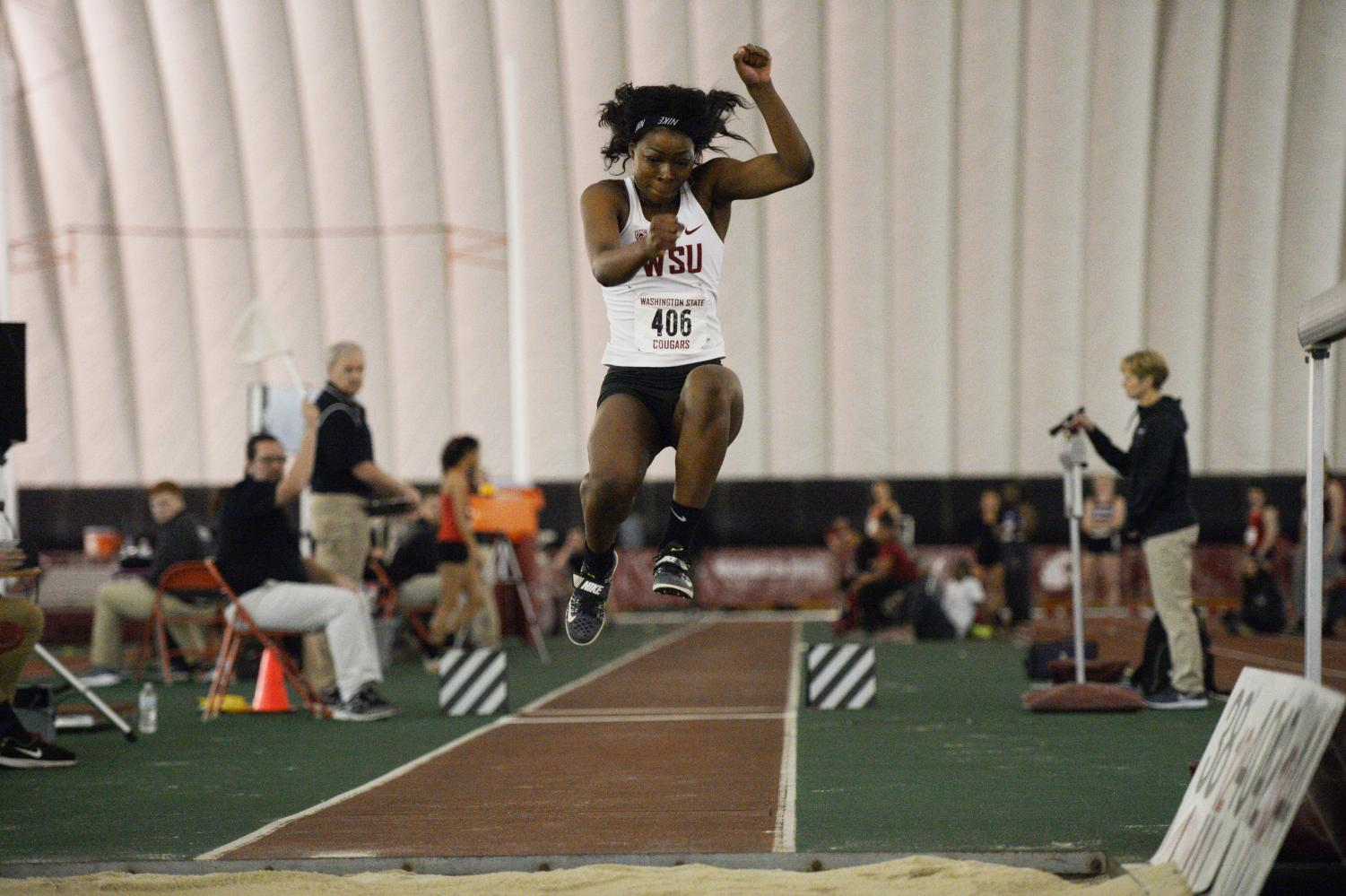 Freshman Oyinlola Akinlosotu competes in the triple jump at the Cougar Indoor on Feb. 3. She finished third in the event.