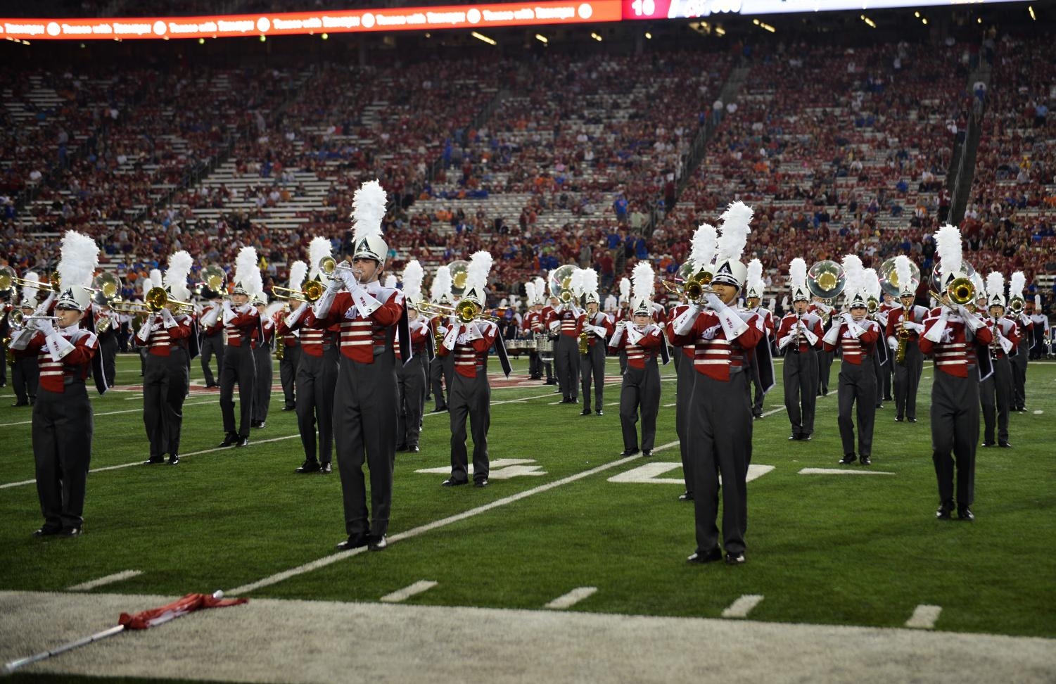 The WSU Cougar Marching Band performs at halftime during the football game against Boise State  on Sept. 9 at Martin Stadium. It received a 2.5-percent cut from its S&A fees request.