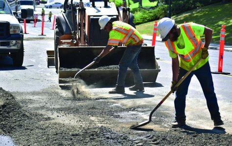 Crews begin repaving Stadium Way