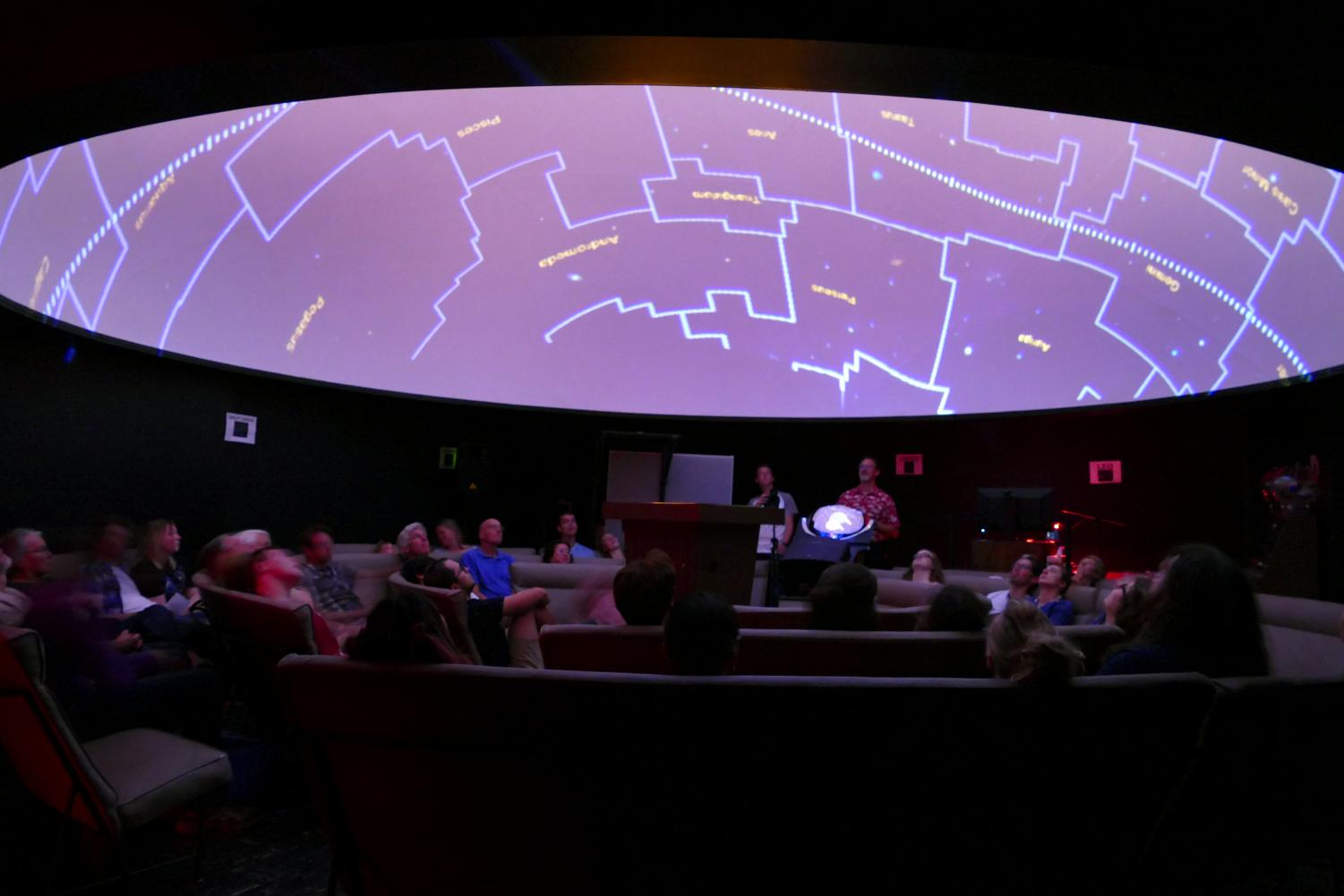 Guy Worthey, planetarium co-director and WSU astrophysics professor, teaches his audience about constellations and galaxies during his 'Galaxies like Dust' show Friday in the WSU Planetarium. He said the planetarium is a perfect date opportunity.