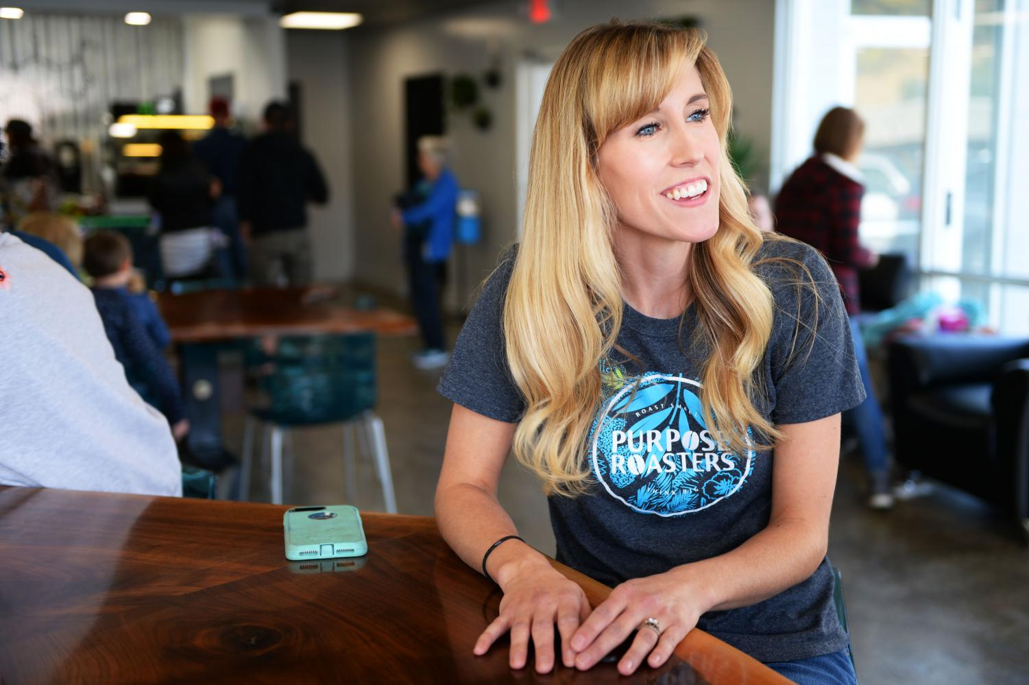 Owner Janelle Harrison talks about how she and her husband Travis Harrison began to brew coffee two years earlier in their garage which is the start to their coffee business on Saturday at Purpose Roasters in Colfax.