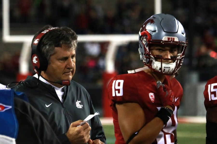 Head+Coach+Mike+Leach%2C+left%2C+watches+the+game+against+the+San+Jose+State+Spartans+from+the+sidelines+Sept.+8+at+Martin+Stadium.
