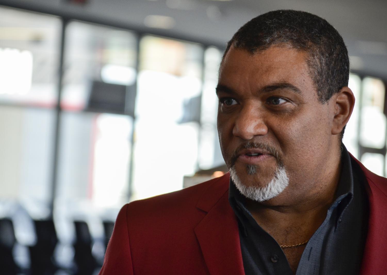 Crimson Coat recipient Andre-Denis Girard Wright talks about receiving a coat Thursday at Martin Stadium.