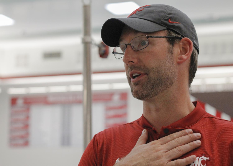 New WSU swim Head Coach Matt Leach speaks about his job Sept. 6 at Gibb Pool.