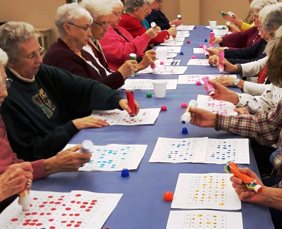 Players+at+the+Colfax+Library+place+a+marker+on+their+playing+cards+during+Bingo+Night+last+spring%2C+one+of+the+most+popular+events+among+seniors+in+the+community.