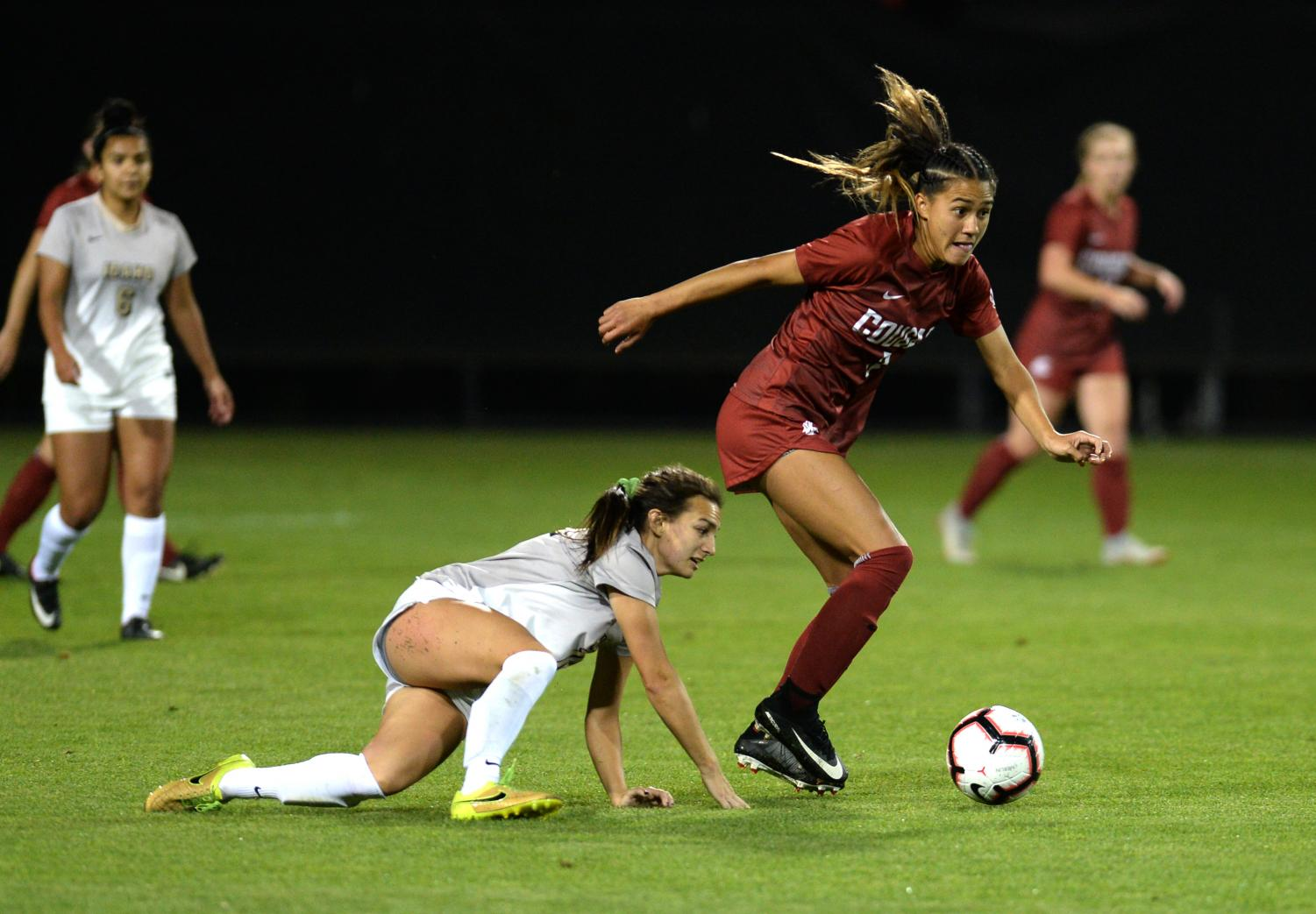 Finessing her way past another Idaho player, sophomore forward Makamae Gomera-Stevens leaves multiple players in the dust during the match against the Idaho Vandals on Sept. 6 at the Lower Soccer Field.