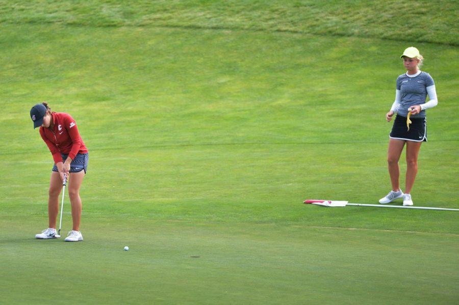 Then-junior+Bree+Wanderscheid+makes+a+putt+during+the+WSU+Women%27s+Golf+Cougar+Cup+Sept.+20%2C+2016+at+the+Palouse+Ridge+Golf+Course.