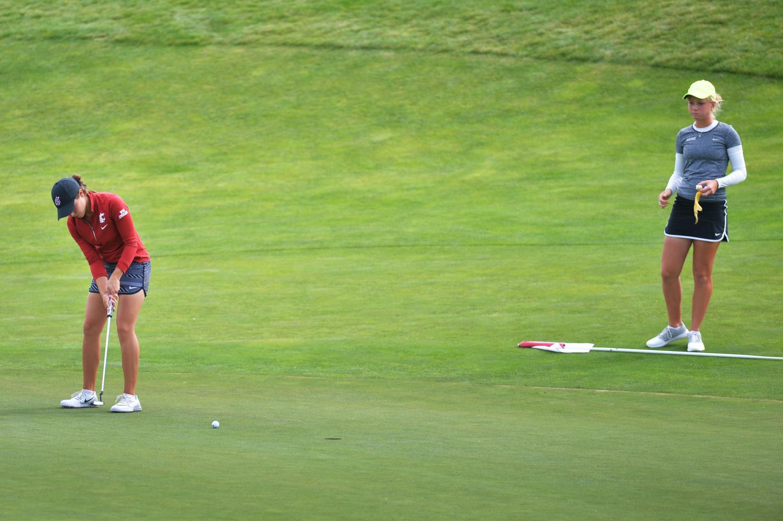 Then-junior Bree Wanderscheid makes a putt during the WSU Women's Golf Cougar Cup Sept. 20, 2016 at the Palouse Ridge Golf Course.