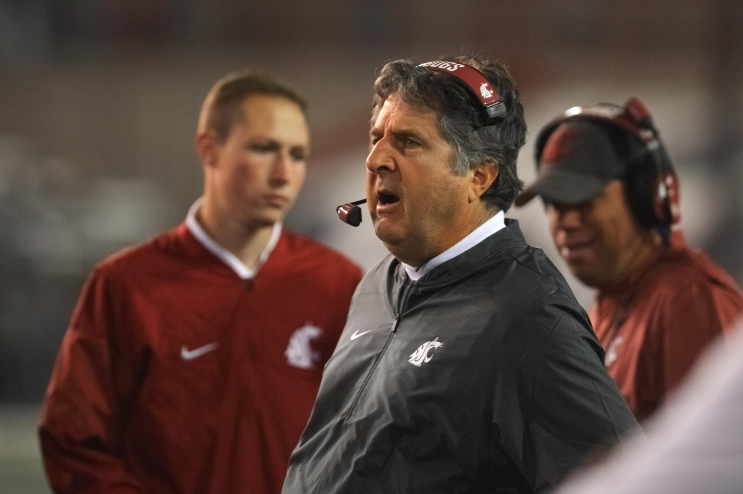 Head coach Mike Leach makes calls from the sideline in the game against Eastern Washington Sept. 15 at Martin Stadium.