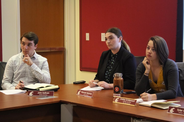 Senator John Sullivan, from left, Senator Hannah Martian and Senator Lindsay Schilperoort listen to a fundraising request for India Night on Wednesday in the CUB.